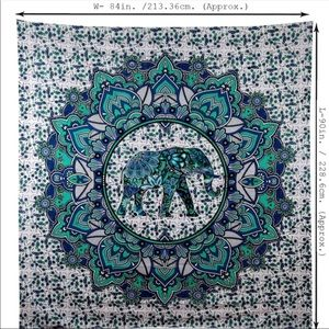 Blue and Green Elephant Tapestry